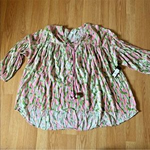Crown & Ivy curvy Sz 2x peasant top watercolor